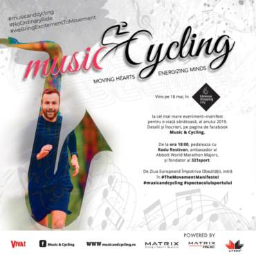 Pe 18 mai ne vedem la Music & Cycling, un maraton fantastic de indoor cycling!